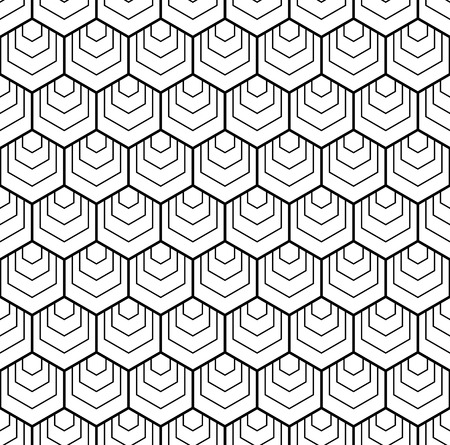 Seamless hexagons pattern. White and black geometric background. Vector art.