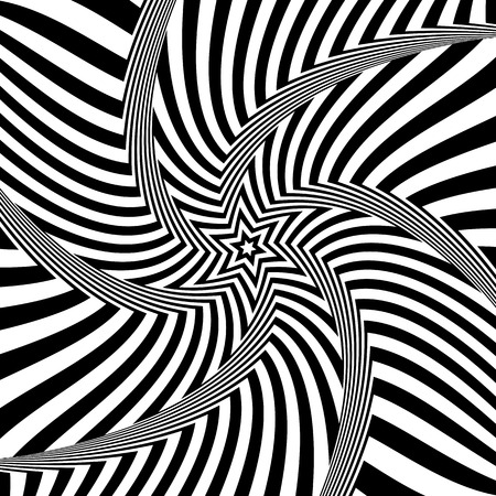 Abstract op art design. Illusion of rotation movement. Lines texture. Vector illustration.