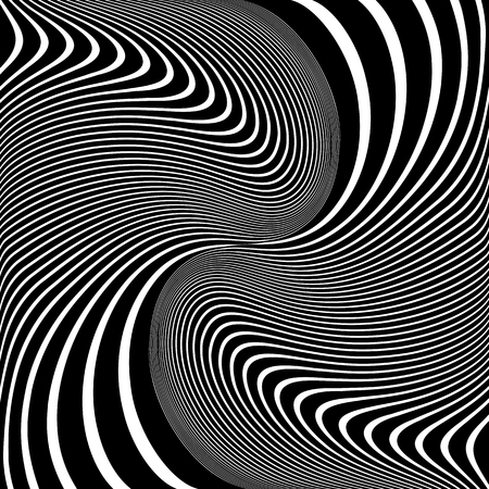 Abstract op art design. Wavy lines pattern and texture. Vector illustration.