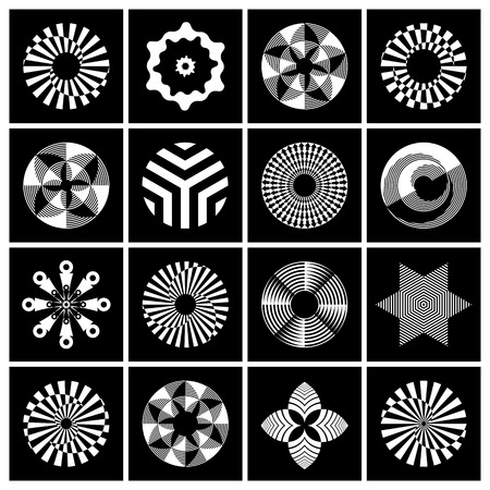 Design elements set. Contrast black and white abstract icons. Vector art.