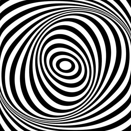 Rotation torsion whirl movement illusion. Oval lines texture. Vector op art illustration. Illustration