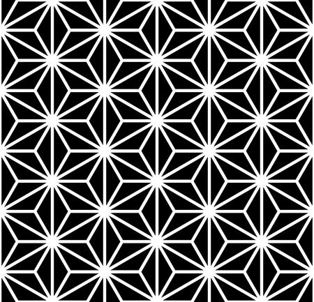 Esagoni senza soluzione di continuità, triangoli, diamanti e motivo a stelle. Trama geometrica. Arte vettoriale.