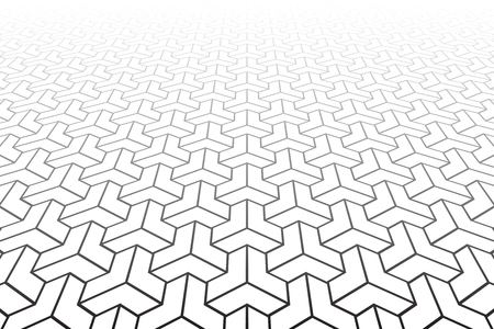 Abstract geometric pattern on white background. Diminishing perspective. Vector art. Illustration