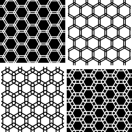 Seamless hexagons patterns set. White and black geometric textures and backgrounds. Vector art. Illustration