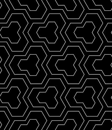 Seamless geometric pattern. Black textured background. Vector art.