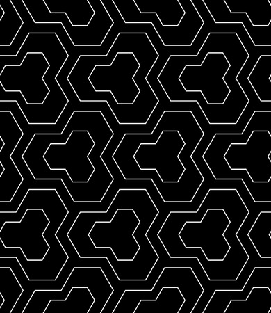 Seamless geometric pattern. Black textured background. Vector art. Illustration