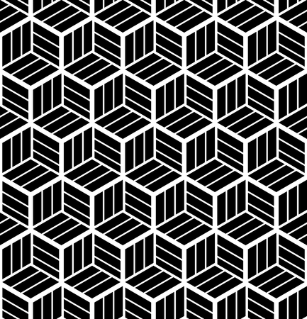 Seamless op art geometric pattern. 3D illusion. Black and white background and texture. Vector art. Vector Illustration