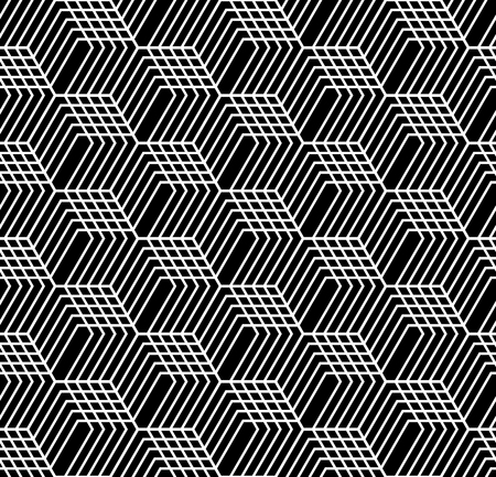 Seamless op art geometric pattern. 3D illusion. Black and white isometric background and texture. Vector art.