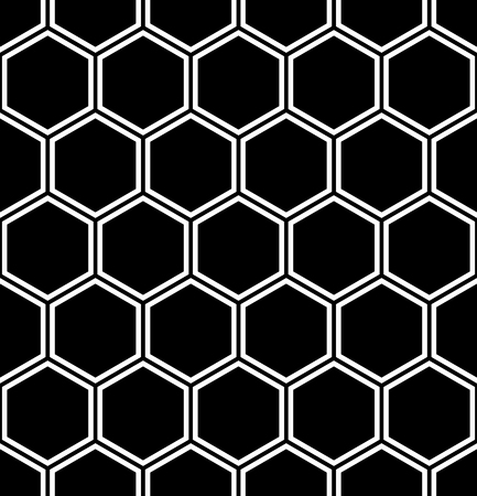 Seamless hexagons pattern. Abstract black and white geometric texture and background. Vector art.