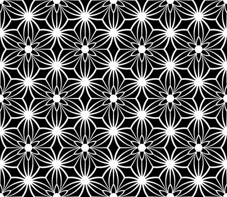 Black and white seamless modern floral pattern. Vector art.