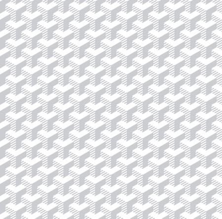Seamless isometric pattern. 3D illusion. White geometric background. Vector art.
