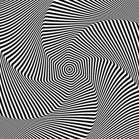 Torsion rotation movement. Abstract op art design. Vector illustration. Foto de archivo - 116233597