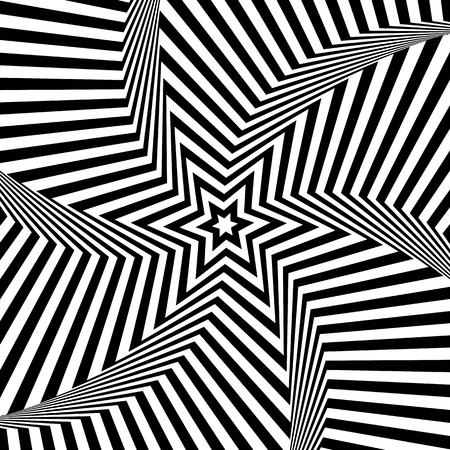Abstract op art design. Star shape pattern. Lines texture. Vector illustration. Illustration