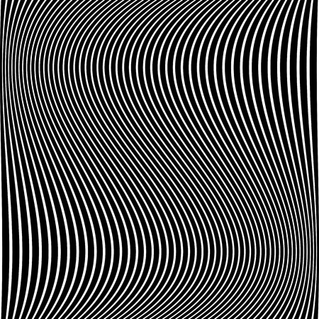 Abstract wavy lines texture. Striped black and white background. Vector art.