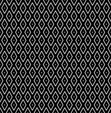 Seamless diamonds pattern. White geometric texture on black background. Vector art.