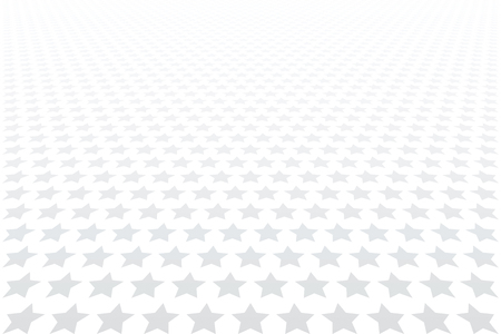 Stars pattern. Diminishing perspective view. White textured background. Vector art.