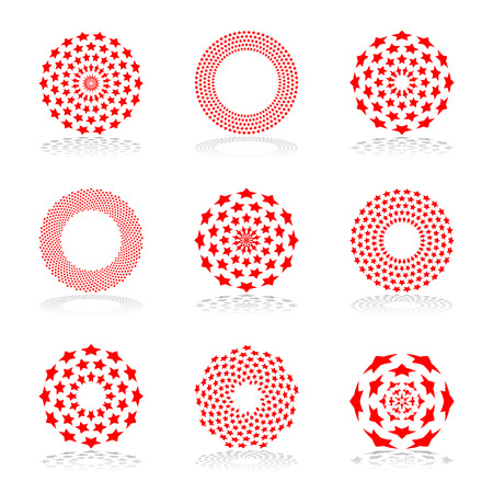 Design elements set. Stars geometric patterns in circle shape. Vector art. Ilustracja