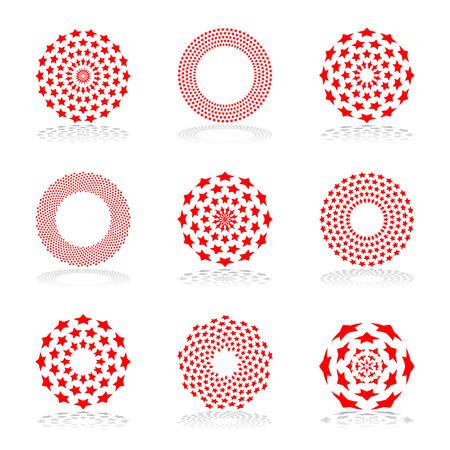 Zestaw elementów projektu. Gwiazdy geometryczne wzory w kształcie koła. Sztuka wektor. Ilustracje wektorowe
