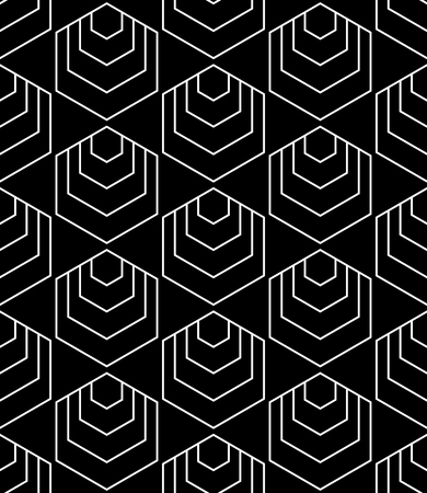 Seamless hexagons pattern. Geometric texture. White line on black background, Vector art.