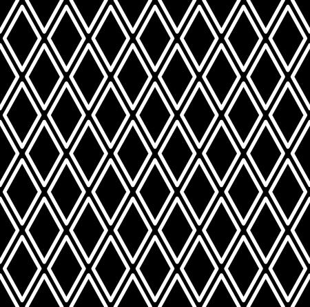 Seamless diamonds pattern. White geometric texture on black background. Vector art. 일러스트