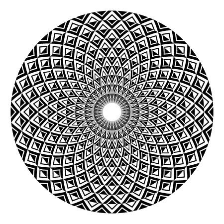 Elemento de diseño circular. Patrón de rotación geométrica abstracta. Arte vectorial