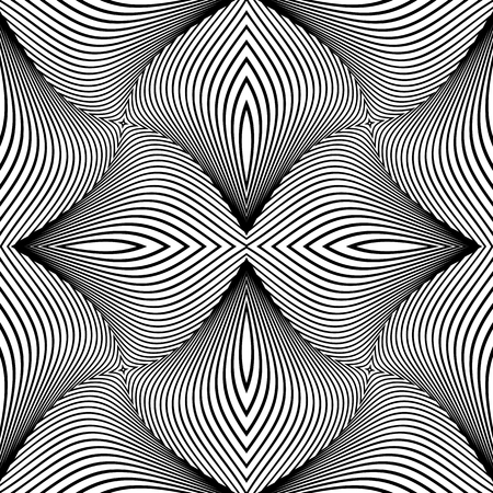 Seamless op art pattern. Lines texture. Vector art. Illustration