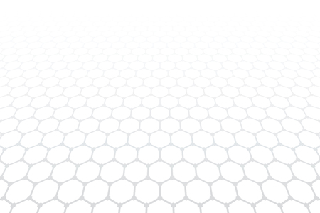 Hexagons pattern. White textured background. Diminishing perspective view. Vector art. Çizim