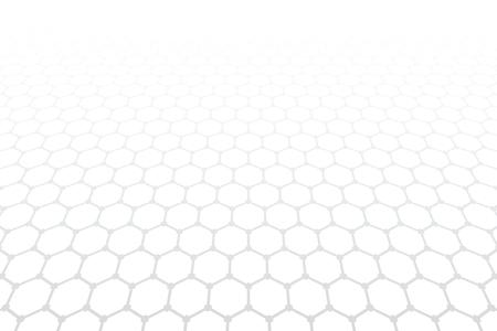 Hexagons pattern. White textured background. Diminishing perspective view. Vector art. Иллюстрация