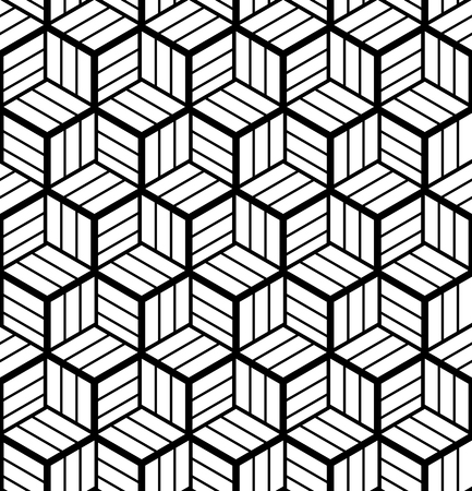 Seamless op art geometric pattern. 3D illusion. Black and white background and texture. Vector art.