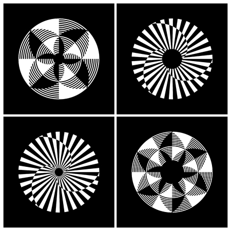 Abstract circle rotation design elements. Vector art.
