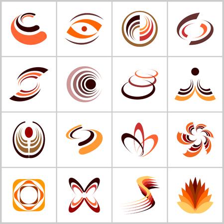 Design elements set. Abstract icons in warm colors. Vector art. Vektoros illusztráció