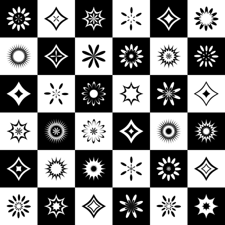 Abstract icons set. Design might be used as seamless pattern. Vector art.  イラスト・ベクター素材