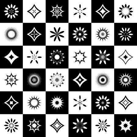 Abstrakte Symbole gesetzt. Design kann als nahtloses Muster verwendet werden. Vektorgrafiken.