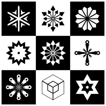 Ensemble d'éléments de conception. Icônes géométriques abstraites en noir et blanc. Art vectoriel.