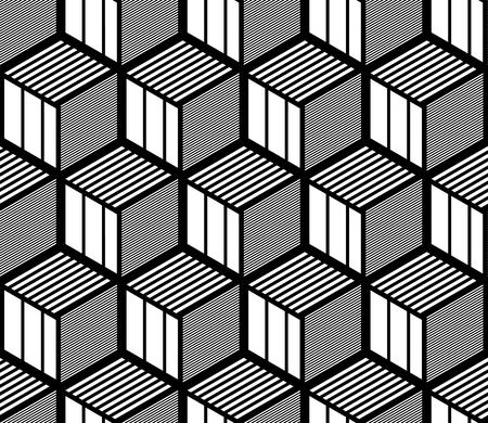 Nahtloses geometrisches Muster der Op-Art. 3D-Illusion. Isometrischer Schwarzweiss-Hintergrund und -beschaffenheit. Vektorgrafiken.