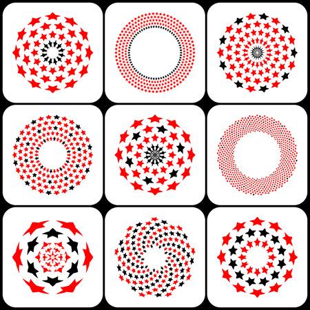 Design elements set. Stars geometric patterns in circle shape. Vector art.