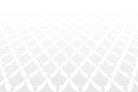 White textured background. Diminishing perspective view. Pattern in fish scale design. Vector art. Illustration