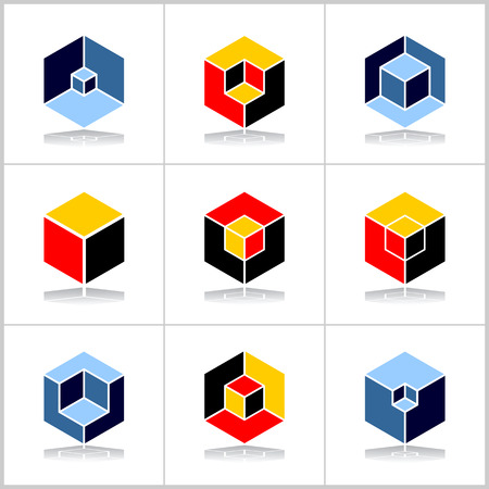 Isometric design elements. Abstract hexagons set. Cubic shape icons. Vector art.