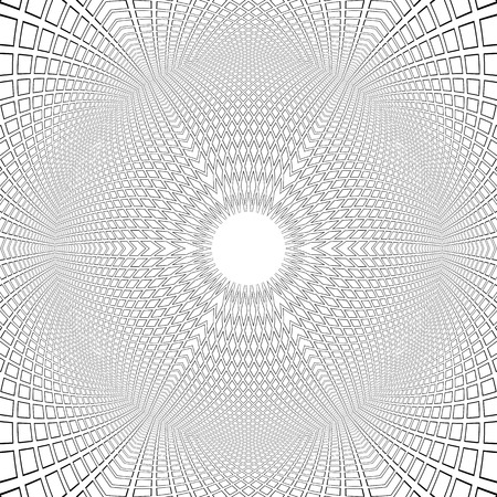Spherical shape. 3D illusion. Convex pattern. Abstract op art architectural background.