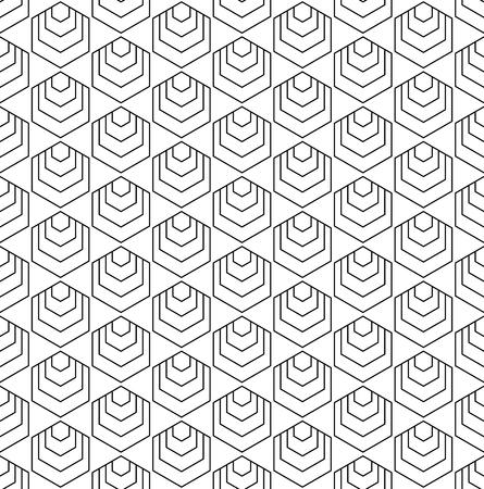 Seamless hexagons pattern. Geometric line texture. Vector art.