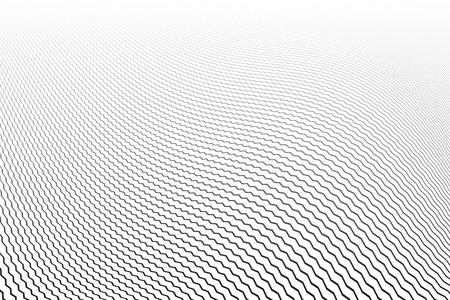 Wavy lines pattern. White textured background. Vector art.