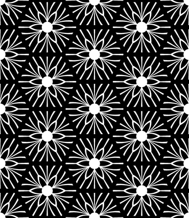 Black and white seamless geometric floral pattern. Vector art. Illustration