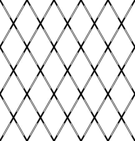 Seamless geometric diamonds pattern. Criss-cross lines texture. Vector art.  イラスト・ベクター素材