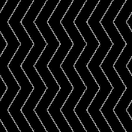 Seamless chevron pattern. White pinstripe zigzag lines texture on black background. Vector art.