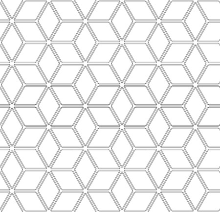 Seamless hexagons and diamonds pattern. White geometric background and texture. Vector art.  イラスト・ベクター素材
