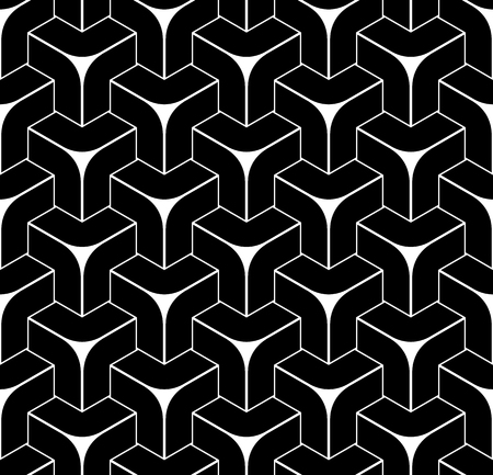 Seamless geometric isometric pattern. 3D illusion. Abstract black textured background. Vector art.  イラスト・ベクター素材