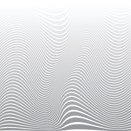 Abstract wavy lines design. White striped background and texture. Vector art.