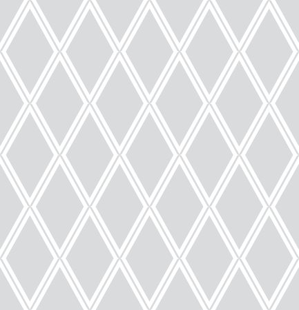 Seamless diamonds pattern. White and light gray geometric background and texture. Vector art.
