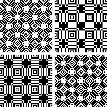 Seamless black and white patterns set. Abstract geometric textures. Vector art. 일러스트