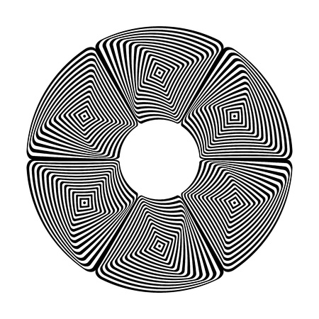Circle design element. Abstract geometric pattern. Lines texture. Vector art.  イラスト・ベクター素材